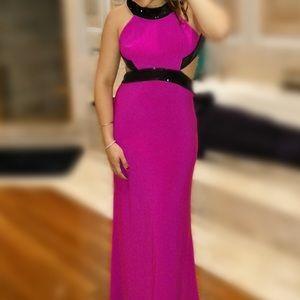 Black and Fuchsia evening dress